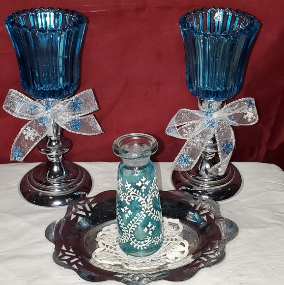 Hand Painted Turquoise Glass Bottle Group